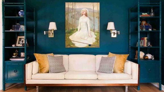 طراحی اتاق نشیمن آبی