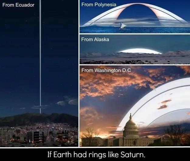 اگر حلقههای زحل در اطراف زمین باشند چیزی که دیده خواهد شد به این صورت است