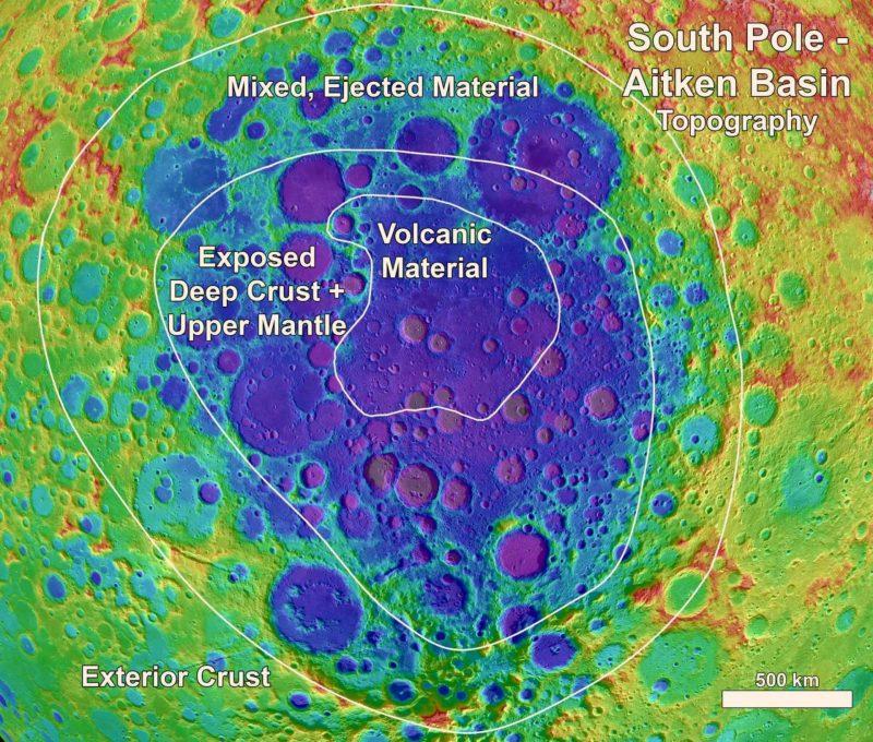 ناهنجاری فلزی در اعماق ماه - توپوگرافی قطب جنوب حوضه آیتکن